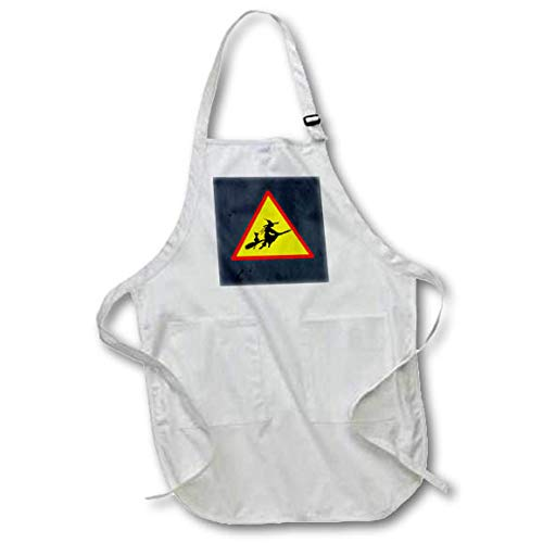 3dRose Sandy Mertens Halloween Designs - Witch Crossing with Black Cat and Broom Warning Sign, 3drsmm - Medium Length Apron with Pouch Pockets 22w x 24l (apr_290246_2) ()
