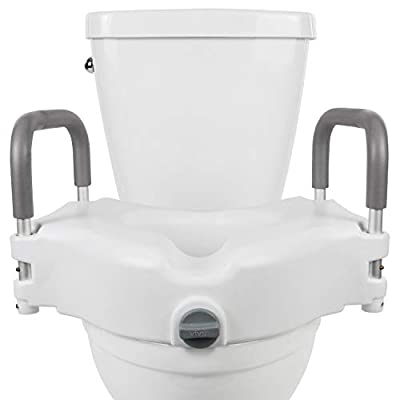 "Vive Raised Toilet Seat - 5"" Portable, Elevated Riser with Padded Handles - Elongated and Standard Fit Commode Lifter - Bathroom Safety Extender Assists Disabled, Elderly, Seniors, Handicapped"