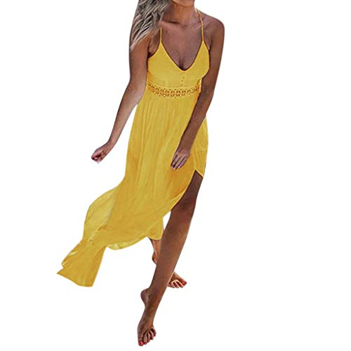 Sunhusing Ladies Summer Solid Color Sexy Off-Shoulder Sling Dress Bohemian Beach Style Long Maxi Dress Yellow