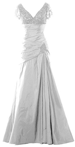 Lace Evening MACloth Weiß Women Bride Mother V Gown Sleeves of Cap Dress Neck Long qXSR1XP