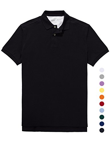 Fastorm Mens Golf Polo Shirt Pique CoolDry Wick Short Sleeve Collar Polo Solid Black X-Large (Solid Mens Polo Shirt)