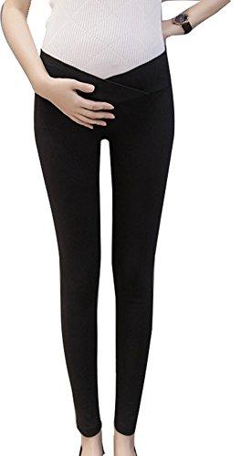 Low Rise Maternity Pants (Plaid&Plain Women's Low Rise Stretchy Pregnancy Under Bump Maternity Leggings Black L)