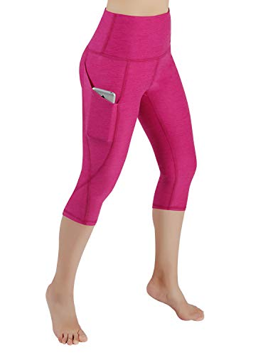 ODODOS High Waist Out Pocket Yoga Capris Pants Tummy Control Workout Running 4 Way Stretch Yoga Capris Leggings,Fuchsia,Medium -