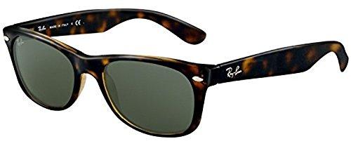 Ray-Ban New Wayfarer RB 2132 Sunglasses Tortoise / Crystal Green (902) 55mm & HDO Cleaning Carekit - 2132 Rb 902