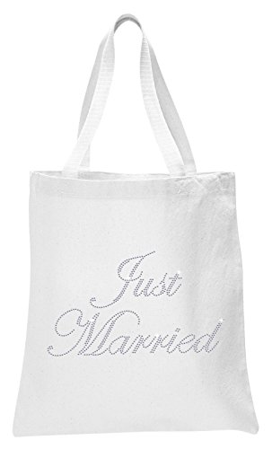 Varsany White Just Married Luxury Crystal Bride Tote bag wedding party gift bag (Just Married Tote)