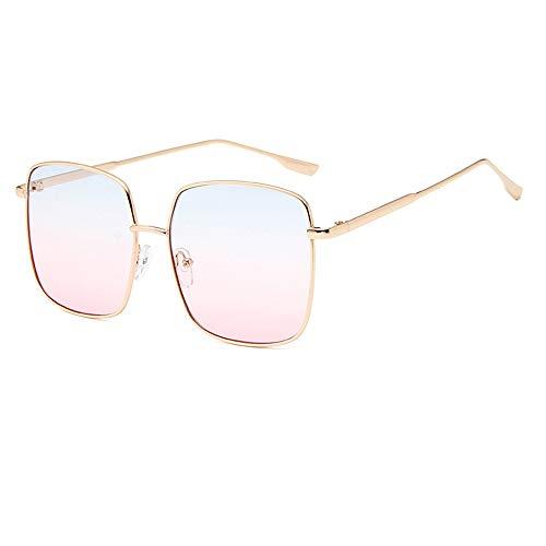 - Vocono Retro Oversized Sunglasses for Women Square Metal Frame Non-Prescription Lens (Blue-Pink)