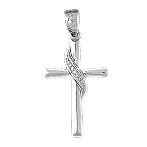 14K White Gold Methodist Cross Pendant Necklace - 25 - Cross Methodist White 14k Gold