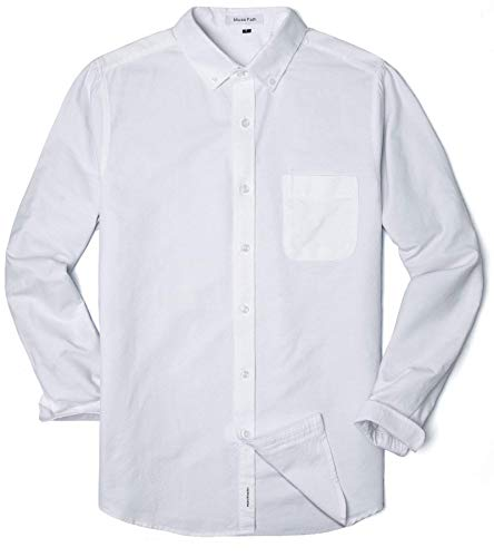 MUSE FATH Men's Oxford Dress Shirt-Cotton Casual Long Sleeve Shirt-Interview Dress Shirt-White with Pocket-XL
