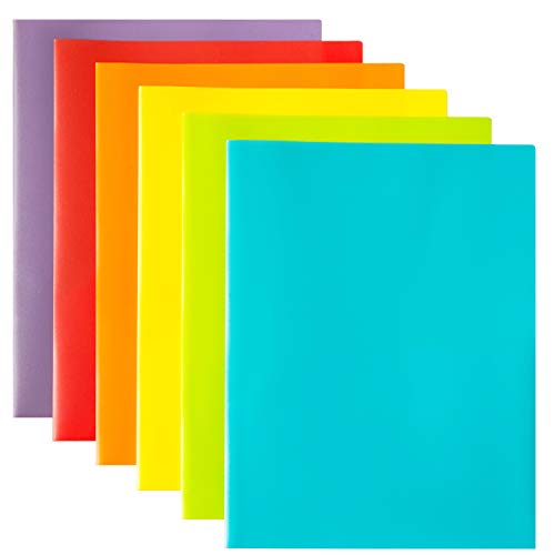 (Youngever 12 Plastic Pack Pocket Folders - Heavy Duty Plastic 2 Pocket Folder, in 6 Colors)