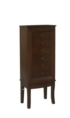 Brown Cherry Armoire (Linon Cherry Finish Jewelry Armoire with Intricate Carved Detail & Ample Space For Your Entire Jewelry Collection)