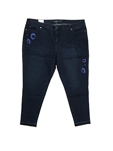 Back Zip Leather Jeans (Lauren Ralph Lauren Plus Size Premier High-Rise Skinny Floral Crop Jeans (14W, Deep Royal Wash))