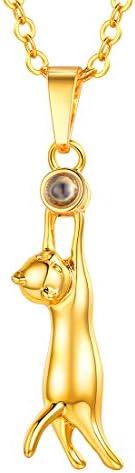 U7 Rose Gold/Gun Balck Metal/Platinum/Gold Plated/925 Silver Rhinestone Cute Kitty Cat Pendant for Men Women T