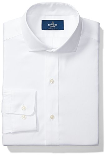 Buttoned Down Men's Classic Fit Cutaway Collar Solid Non-Iron Dress Shirt (No Pocket), White, 18.5