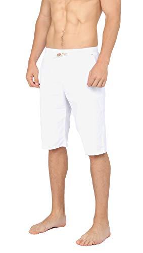 WULFUL Men's Casual Classic Fit Shorts Drawstring Summer Beach Linen Shorts White ()