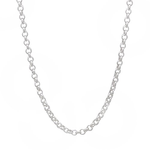 2.2mm Solid 925 Sterling Silver Rolo Cable Link Chain , 18 inches - Made in Italy + Bonus Cleaning Cloth (Silver Cable Link Chain)