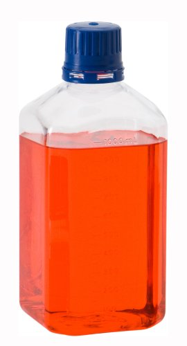 Chemglass CLS-1150-0500 PETG Square 500mL Sterile Graduated Media Bottle, with 38-430 GPI Thread (Pack of 12)