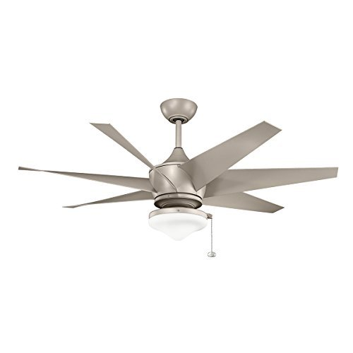 Kichler Lighting 310112ANS Lehr II Climates 54-Inch Wet Location High Efficiency DC Ceiling Fan, Antique Satin Silver Finish with Antique Satin Silver ABS Blades by Kichler Lighting