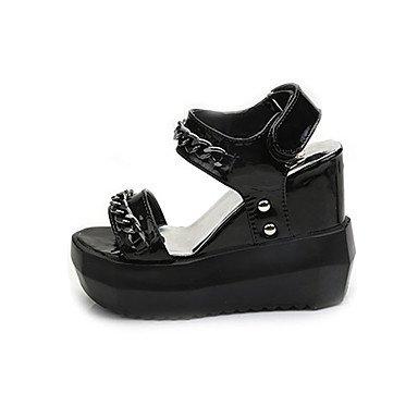 LvYuan Mujer-Tacón Plano Tacón Cuña Media plataforma-Confort-Sandalias-Vestido Informal-PU-Negro Blanco Plata White