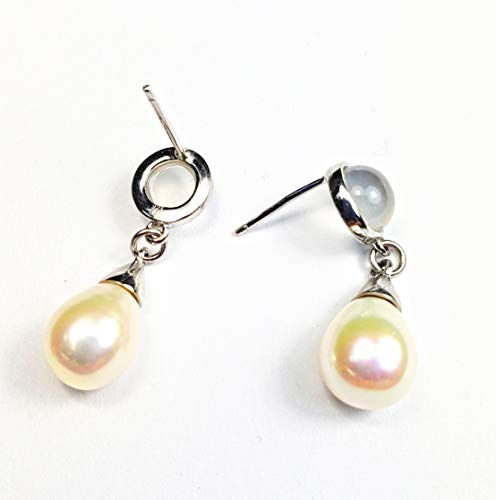Jewels of New York Sterling Silver Drop and Dangle Freshwater Pearl and Moonstone Earrings