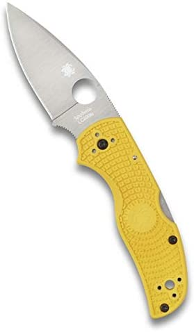 Spyderco Native 5 Lightweight Folding Knife – Yellow FRN Handle with PlainEdge, Full-Flat Grind, LC200N Steel Blade and Back Lock – C41PYL5