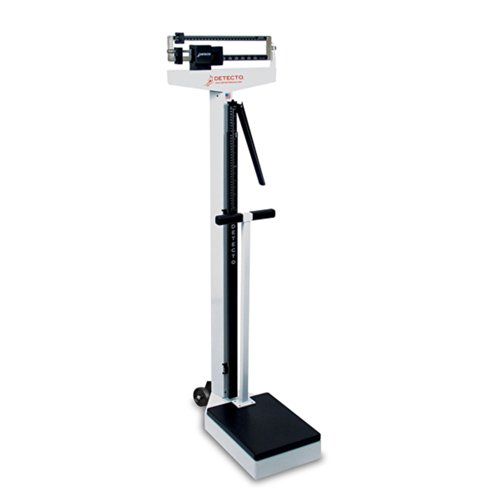 Detecto 448 Balance Beam Doctor/Physician Scale w/ Height Rod, Wheels & Hand Post, 400 lbs, Made in the USA by Detecto
