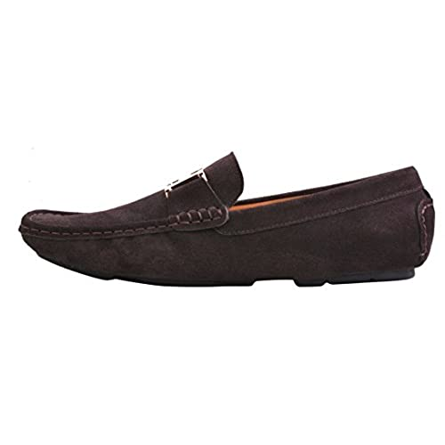 799256c62b5 new Santimon Mens Moccasin Nubuck Leather Gold Buckle Car Shoes Loafers  Shoes