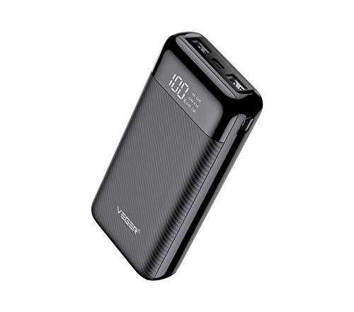 VEGER W2019 LCD Display 20000 mAh Li Polymer Power Bank (Black)