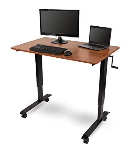 Crank Adjustable Sit to Stand Up Desk with Heavy Duty Steel Frame (48, Black Frame/Teak Top)