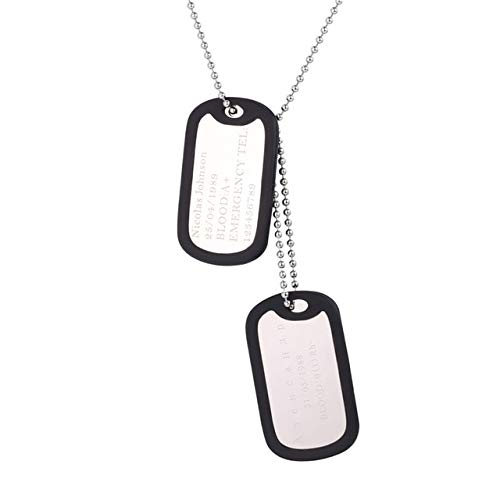 Metal Color: Stainless Steel, Main Stone Color: Personalization U7 Custom Engraved Dog Tags Personalized Name Pendant Necklaces Men Jewelry Gifts Stainless Steel Long Chain Military Army Style