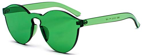 J&L Glasses Transparent Rimless Ultra-Bold Candy Color sunglasses (Green, clear)