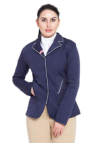 Equine Couture Women's Stars and Stripes Show Coat, Navy, 1X