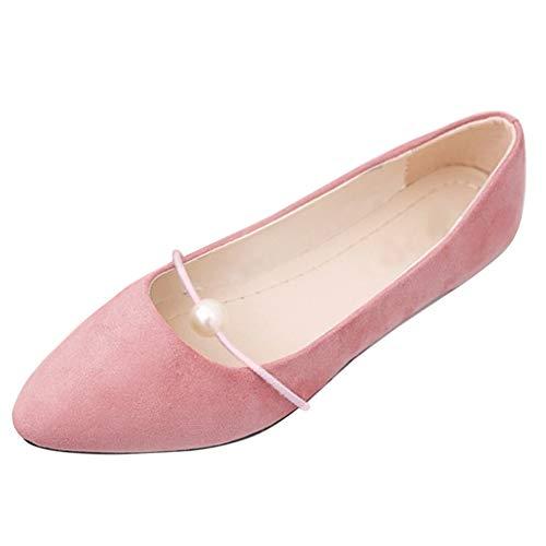Bajo Gamuza Casuales Cómodos Con Puntiagudos Gtagain Planos Profundos De Rosa Poco Cuentas Mujeres Tacón Transpirables Sandalias Zapatos Barco IwRIP4