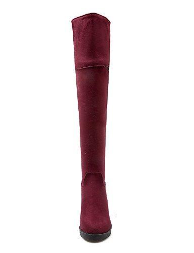 Cuña Redonda Mujer Vestido Zapatos Dark Burgundy us5 A Cuñas De Uk4 Casual Cn36 negro Tacón 5 us6 Moda Cn35 Eu36 La Marino Azul Xzz Uk3 5 Blue Vellón Punta Botas qxw0dIw