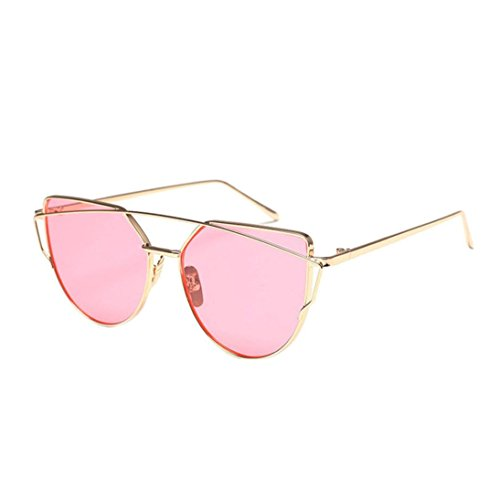 Freeheart Women Fashion Sunglasses Classic Metal Frame Mirror Cat Eye Glasses - Bag B4 Frame