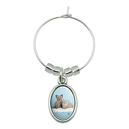 Ragdoll and Tiffany Kitten Cat Friends Wine Glass Oval Charm Drink - Tiffany Oval Tag