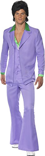 Smiffy's Men's Lavender 1970's Suit Costume, Jacket With Mock Shirt and Waistcoat and pants, 70 Disco, Serious Fun, Size L, 39426