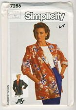 - Simplicity Pattern #7286 SIZE: 16+18+20 ***MISSES' JIFFY LOOSE-FITTED UNLINED JACKET***