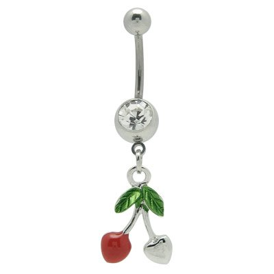BodyJewelryOnline Dangle Cherry and Heart Belly Ring with Cz Gem