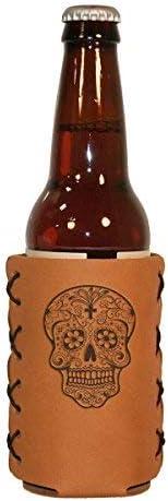 OOWEE Leather Bottle Hugger: Sugar Skull Design (Calaveras) - Long Neck Leather Bottle Wrap - Great for Glass or Aluminum Long Necks