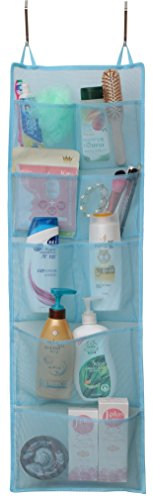 Popular Home Mesh Over Door Shower Tote 8-Pouch Organizer, Blue