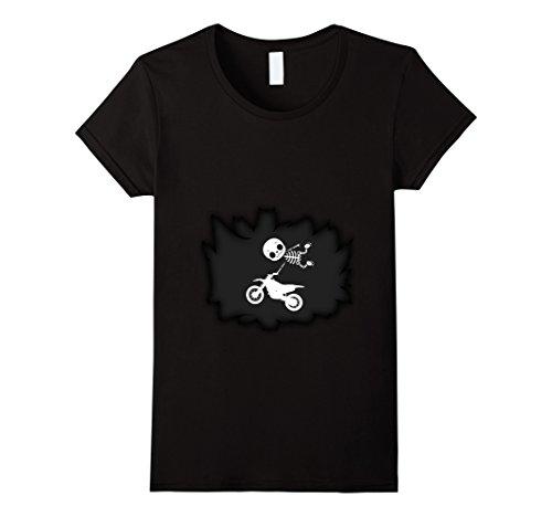 Womens Baby Motocross Skeleton T-shirt Pregnant Mom XL Black