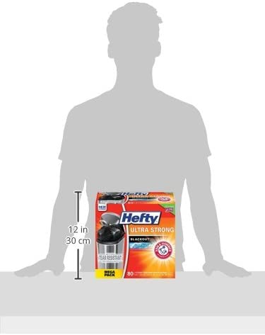 Hefty Ultra Strong Blackout Trash/Garbage Bags, Kitchen Drawstring, Clean Burst, 13 Gallon, 80 Count