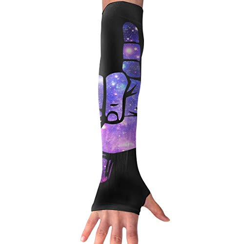 RZM YLY Unisex Sign Language I Love You Arm Sleeves UV Sun Protective Multifunctional Tattoo Arm Gloves Long Sleeve Perfect for Football (1 Pair)]()
