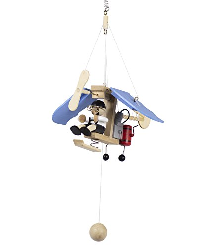 Wupper Airlines Weighted Hanging Mobile Wooden Airplane Blue (Baby Mobiles Airplane)