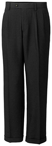 Tall Twill Microfiber Pleated Pant Unhemmed, Black, 48/Big (Twill Double Pleat Pants)