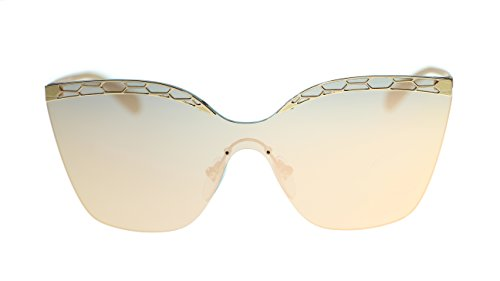 BVLGARI Irregular Women's Sunglasses BV6093 20144Z Pink Gold/Grey Mirror Rose Gold Lens - Shades Bulgari
