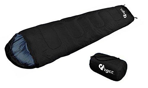 Almond Vot EGOZ Mumien schlafsäcke Einfach zu Tragen Blau Oder Schwarz Schlafsäcke Warm Erwachsene im Freien Sports Zelten Camping Wandern Mit Tragetasche (Schwarz)