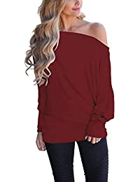 Women s Off Shoulder Loose Pullover Sweater Batwing Sleeve Knit Jumper  Oversized Tunics Top c43d952de