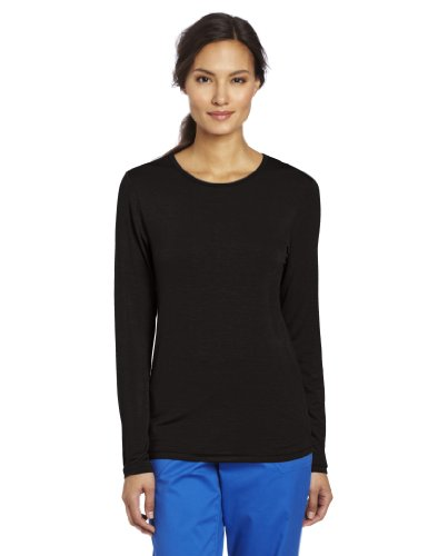WonderWink Women's Scrubs Silky Long-Sleeve T-Shirt - Large - Black