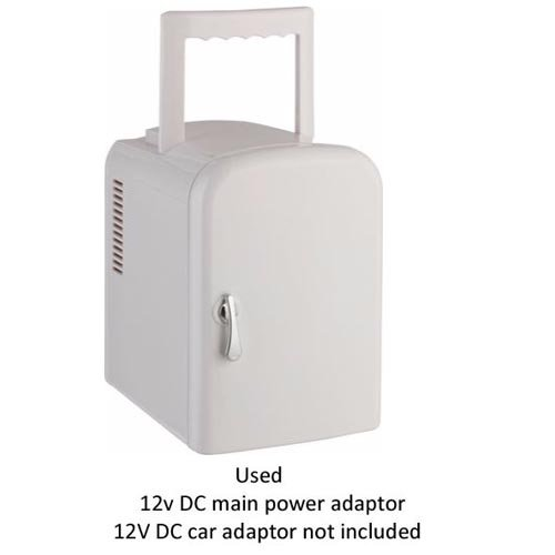 4 Litre White Mini Travel Fridge HeS